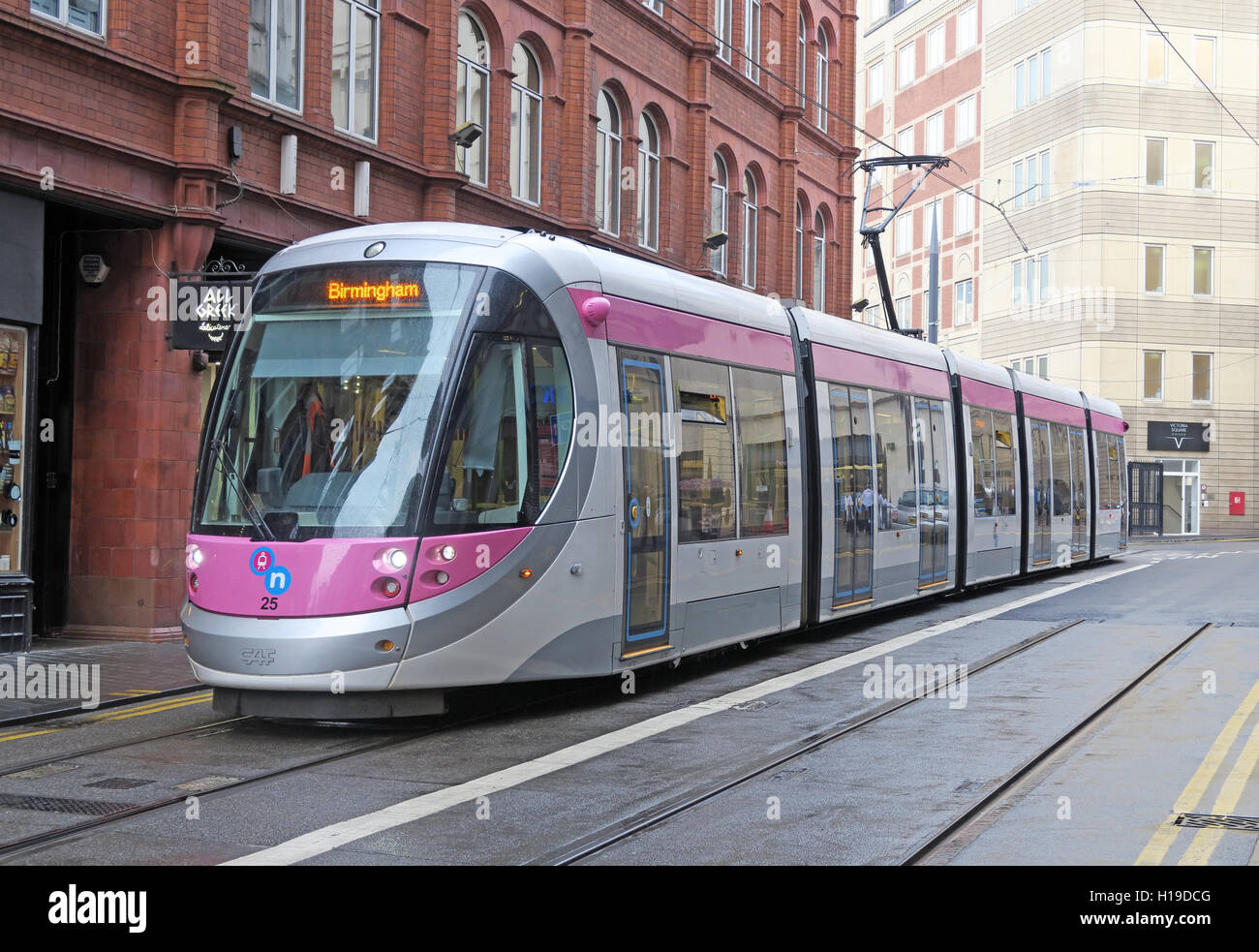 Midland Metro tram at the Central Birmingham New Street stop, UK - Stock Image