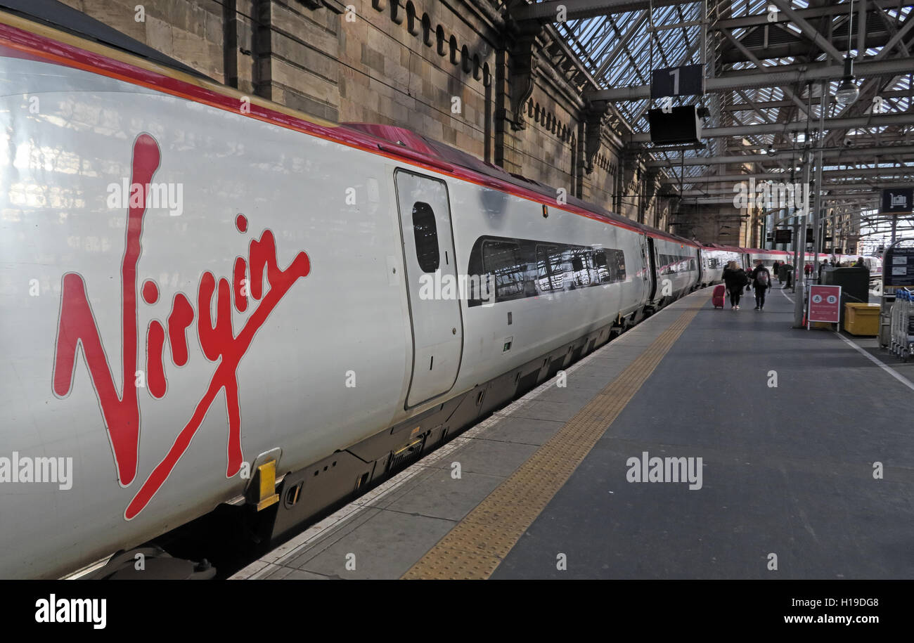 Virgin Train at Glasgow Central Railway Station,Platform 1 - Stock Image