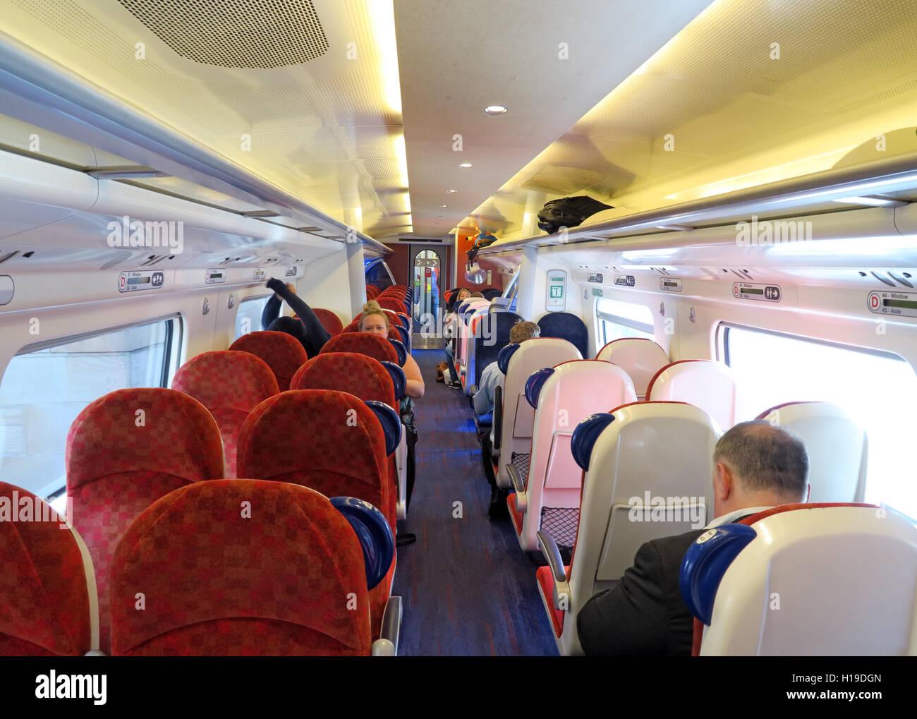 Interior of Virgin WCML train, Glasgow to Euston - Stock Image
