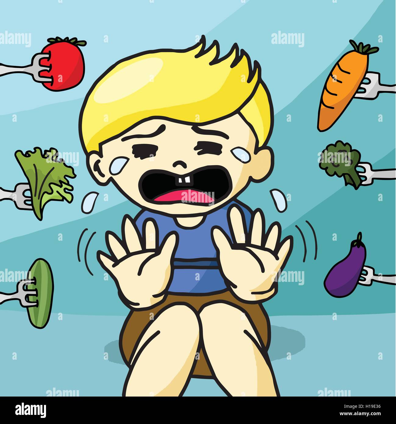 The Boy Does Not Like Healthy Food Stock Vector Image Art Alamy