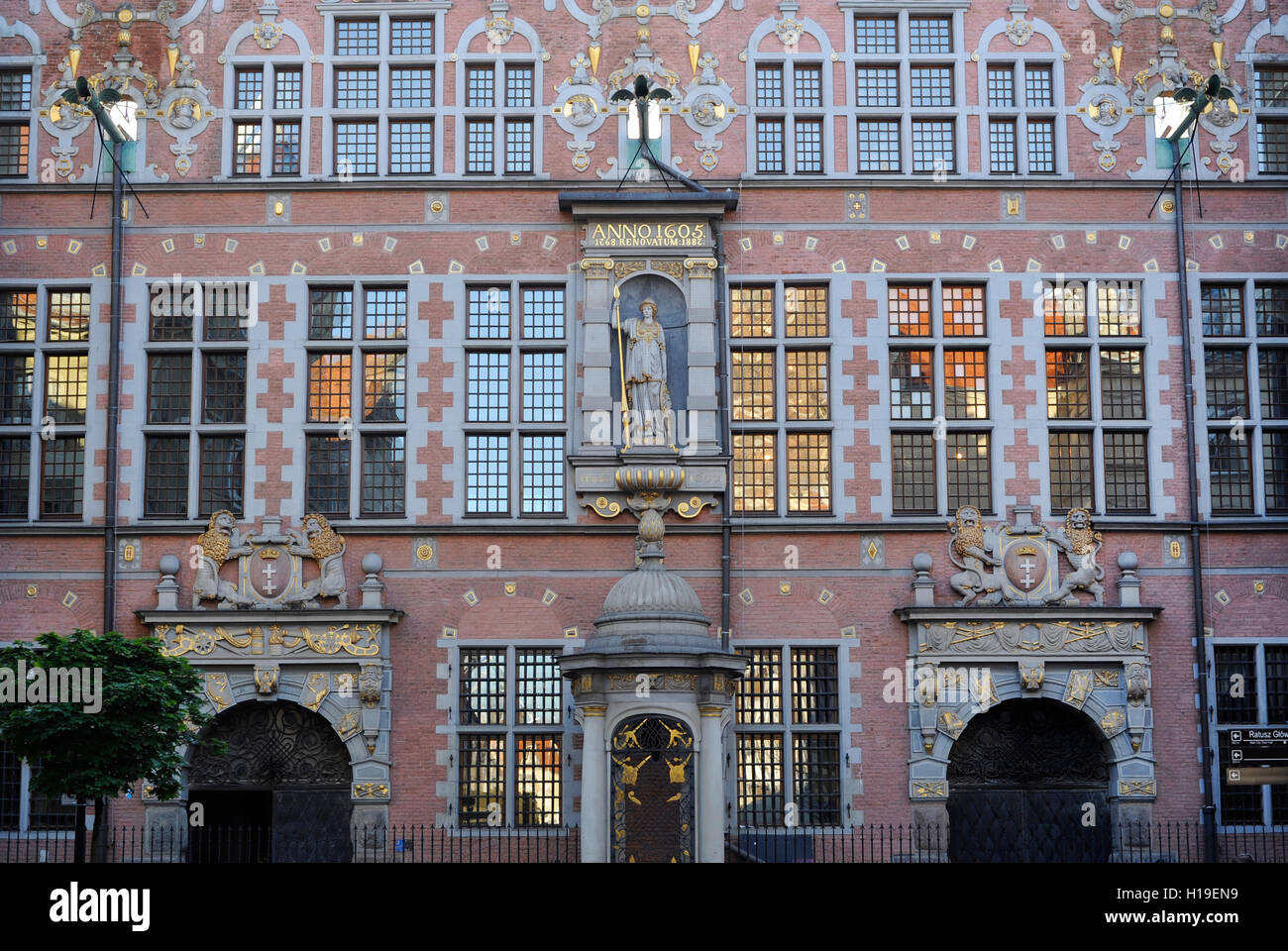 Poland. Gdansk. Great Arsenal. 17th century. Mannerist. Architect Anthony van Obbergen (1543-1611). - Stock Image