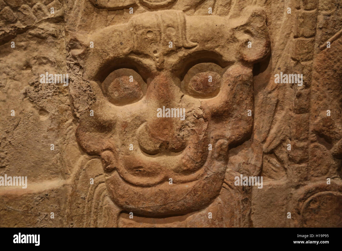 Maya. Commemorative Monument. Guatemala. 8th century. Limestone. Traces of paint. Metropolitan Museum of Art. Ny. - Stock Image
