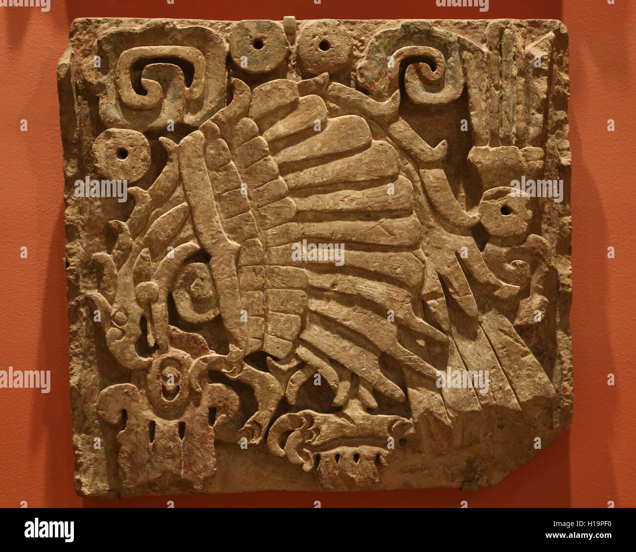 Toltec. Eagle relief. Mexico. 9th-12th century. Traces of paint. Metropolitan Museum of Art. Ny. Usa. - Stock Image