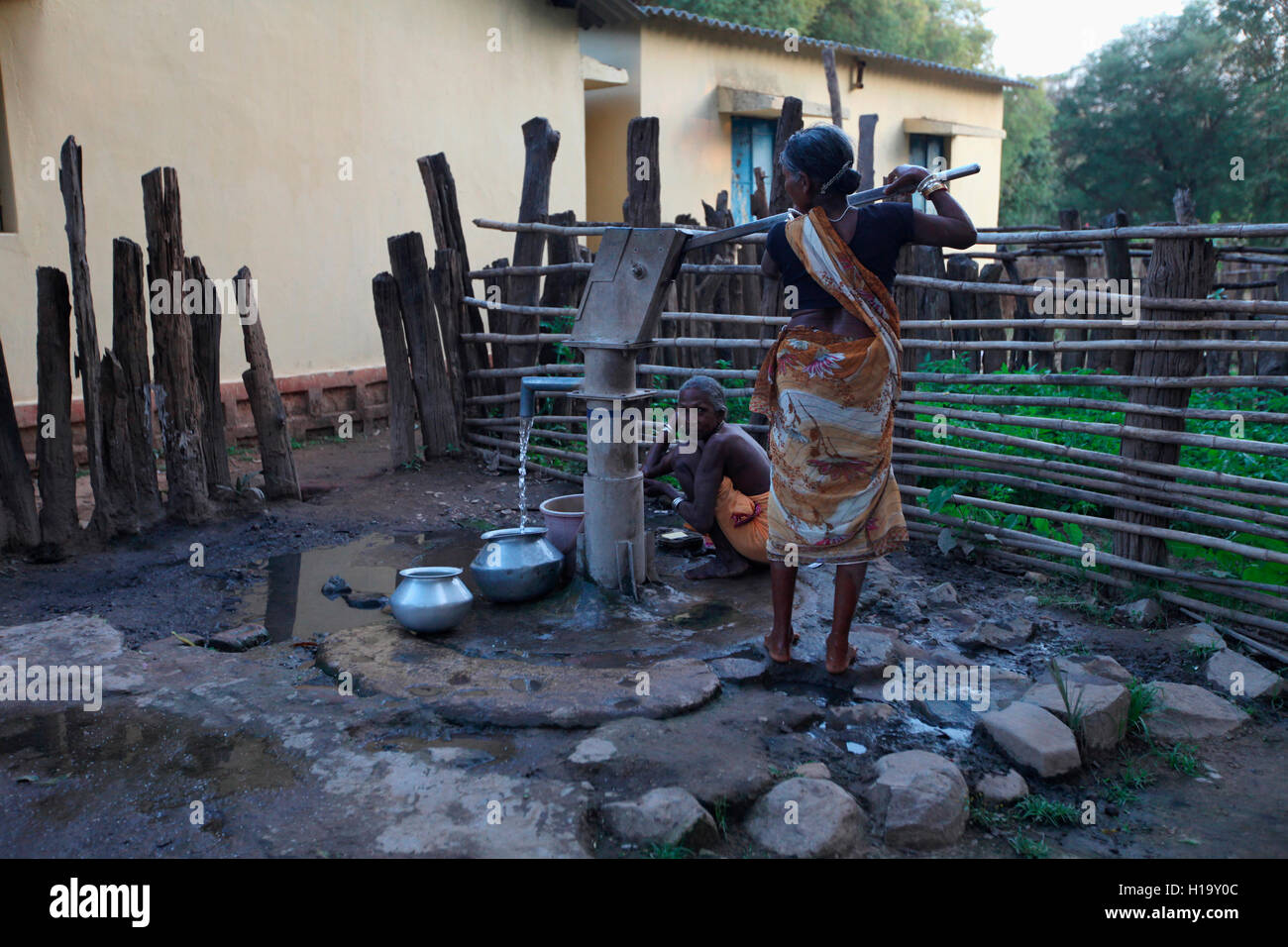 Women fetching water from handpump, Muria Tribe, Erdku village, Chattisgarh, India - Stock Image