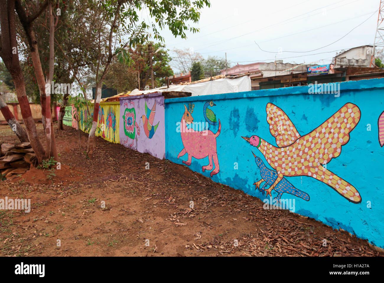 Colorful tribal painting on boundary walls, Anthropology Museum, Jagdalpur, Chattisgarh, India - Stock Image