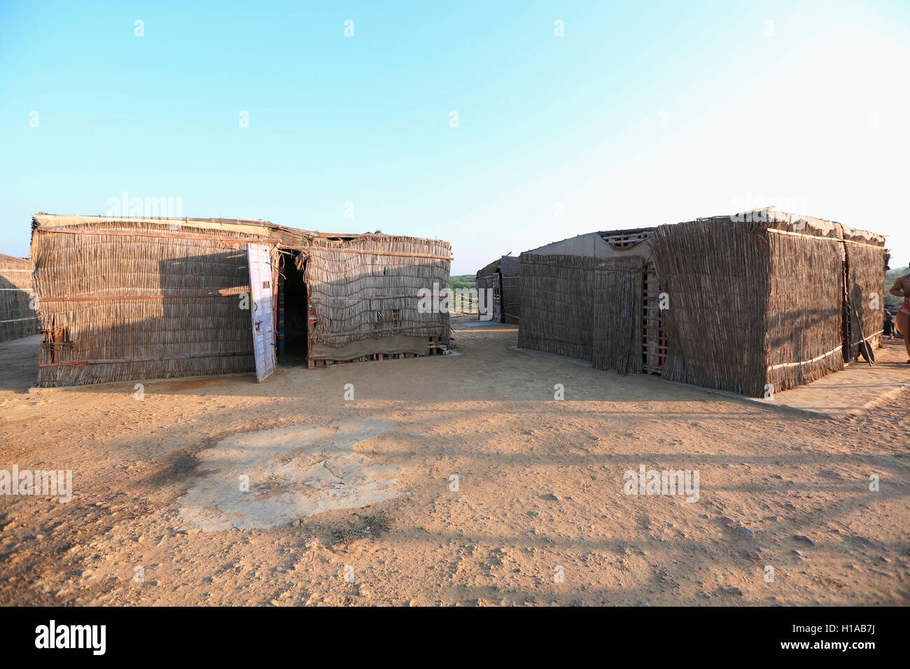 Tribal houses, FAKIRANI JAT, Medi village, Kutch, Gujarat, India - Stock Image
