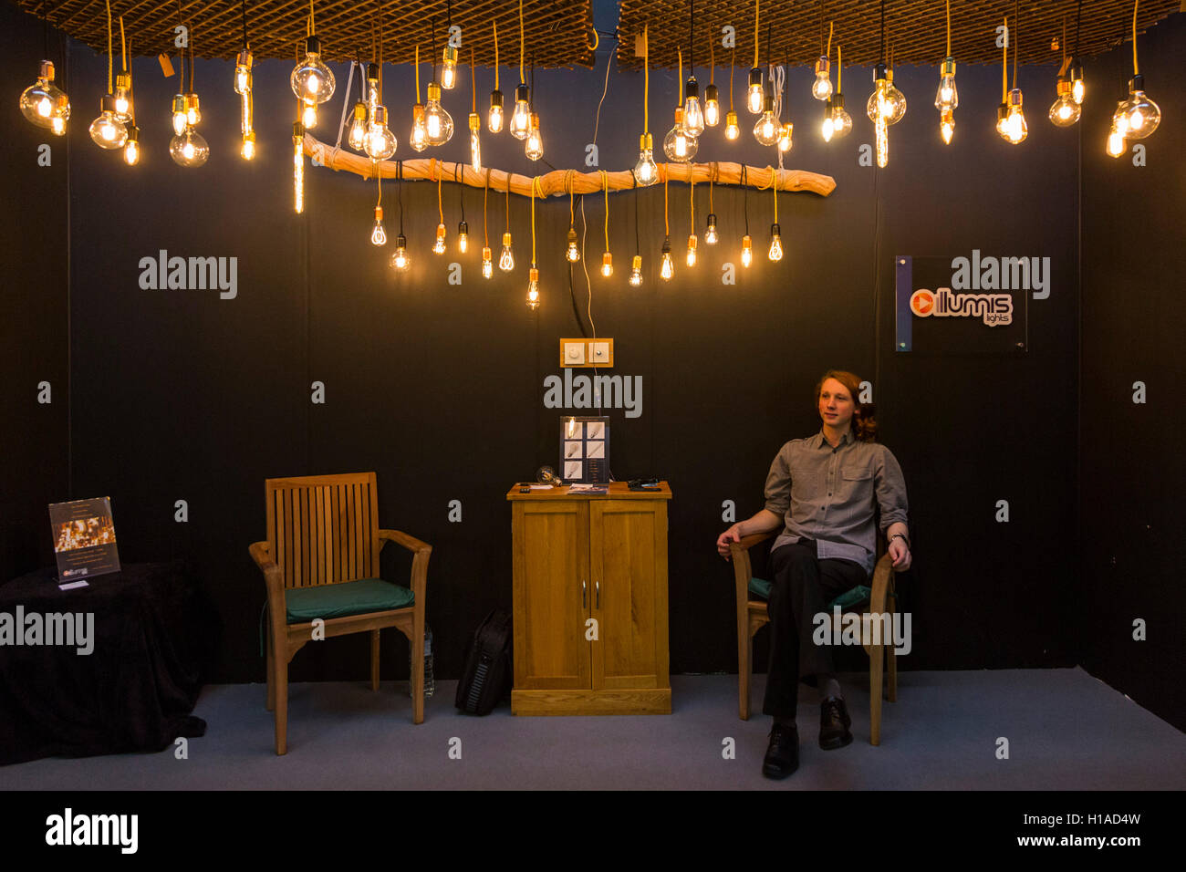 London, UK. 22 September 2016. LED lamps by Illumis Lights. The UK's largest design show 100% Design takes place - Stock Image