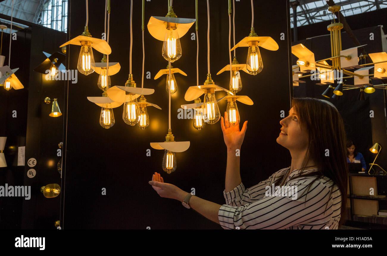 London, UK. 22 September 2016. LED lamps designed by Mullan from Ireland. The UK's largest design show 100% - Stock Image