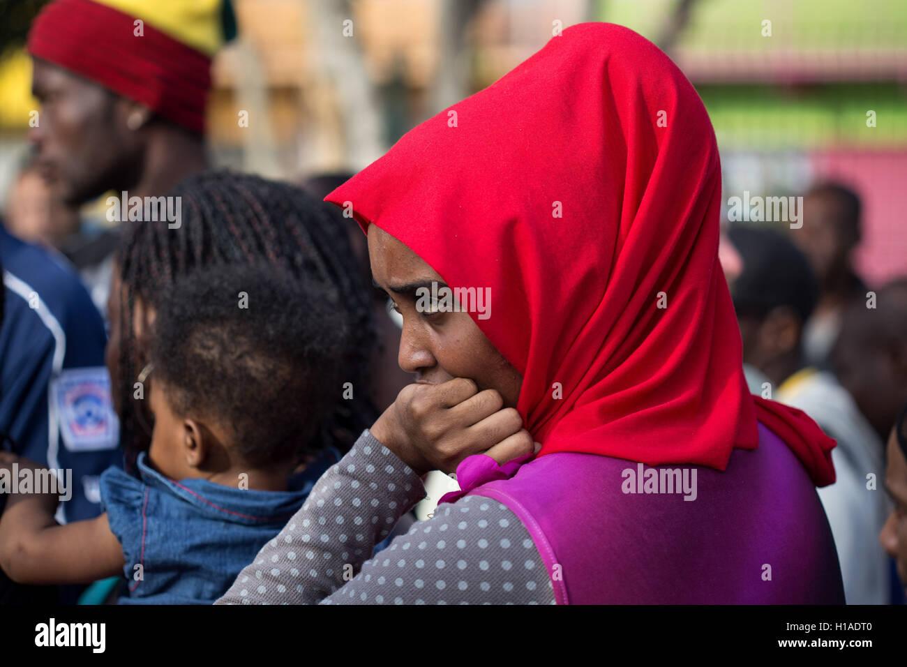 Tijuana, BAJA CALIFORNIA, MEXICO. 19th Sep, 2016. Leila, a Somalian migrant seeking to enter the United States lines Stock Photo