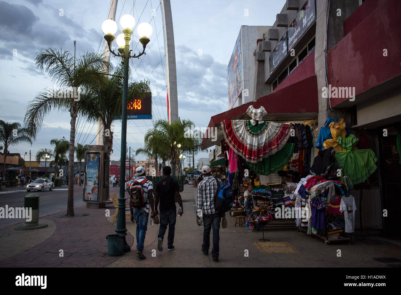 Tijuana, BAJA CALIFORNIA, MEXICO. 19th Sep, 2016. Haitian migrants seeking to enter the United States walk downtown Stock Photo