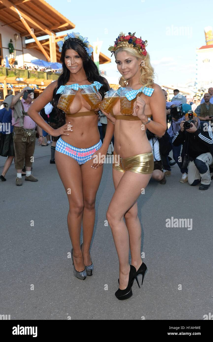 22th September 2016 - Photocall from Micaela Schaefer and Yvonne Woelke gets interrupted by police at Oktoberfest Stock Photo