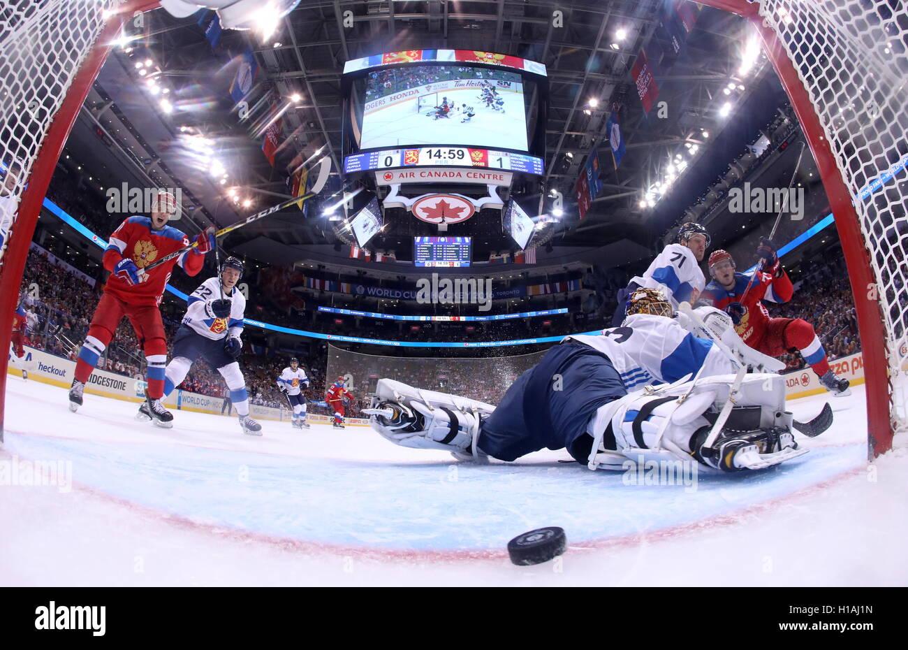 TORONTO, CANADA – SEPTEMBER 22, 2016: Finland's goalie Tuukka Rask (C) concedes a goal in the2016 World Cup of Hockey Stock Photo