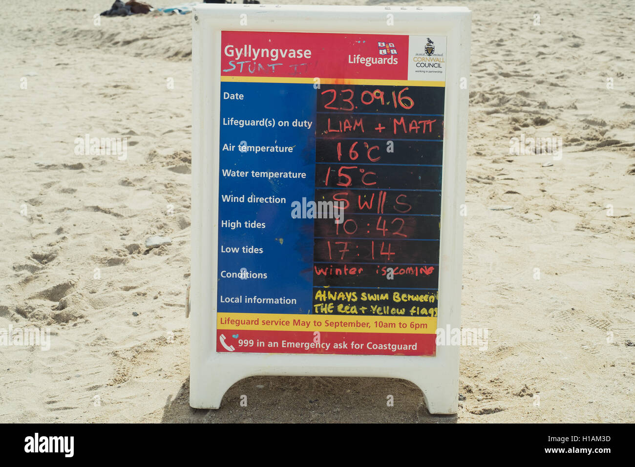 Gyllyngvase Beach, Falmouth, UK. 23rd September, 2016. Winter is coming - cheeky comment on todays RNLI Lifeguards - Stock Image