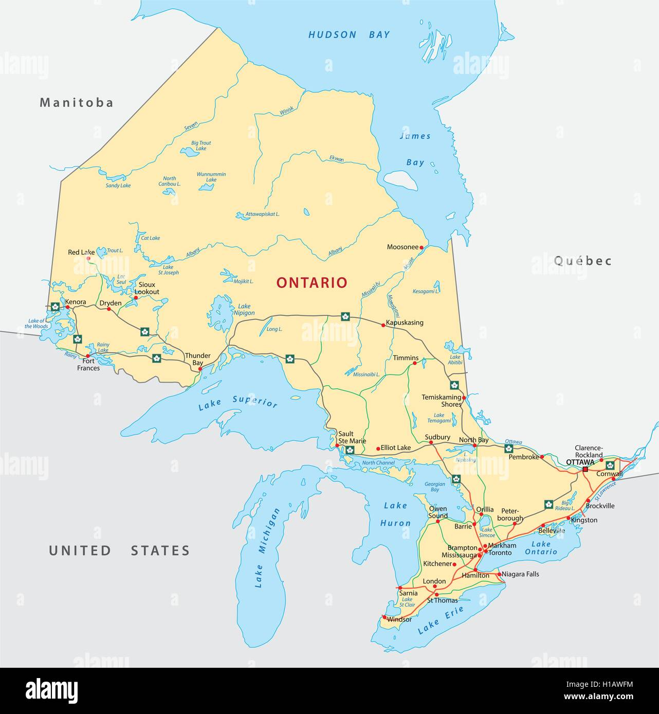 Ontario Map Stock Photos & Ontario Map Stock Images - Alamy