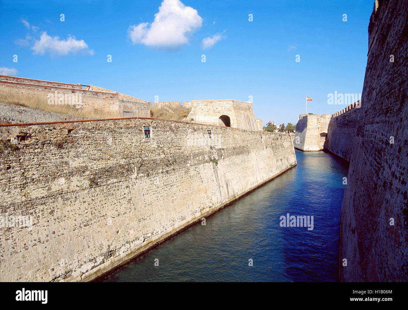 City wall and canal. Ceuta, Spain. - Stock Image