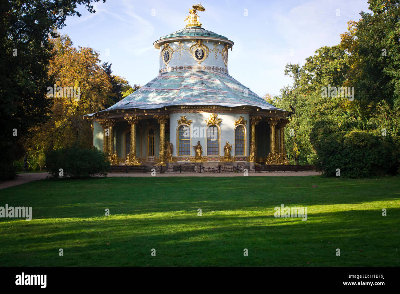 A view of the Chinese House in Sansoucci Park, Potsdam, Germany. - Stock Image