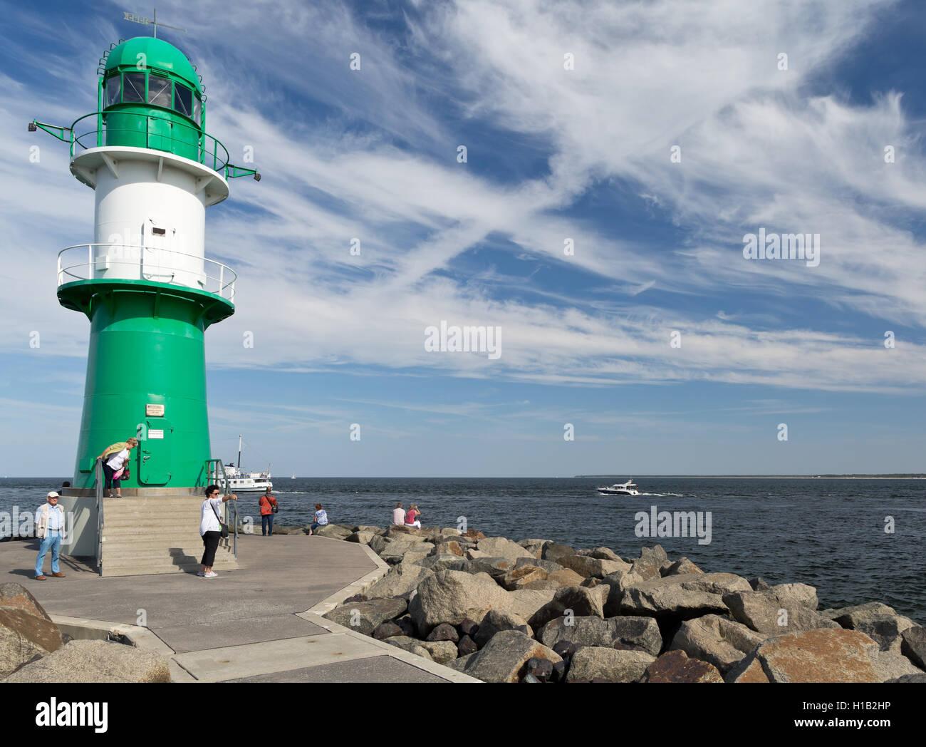 Warnemünde, Mecklenburg-West Pomerania, Germany - Western mole with lighthouse - Stock Image