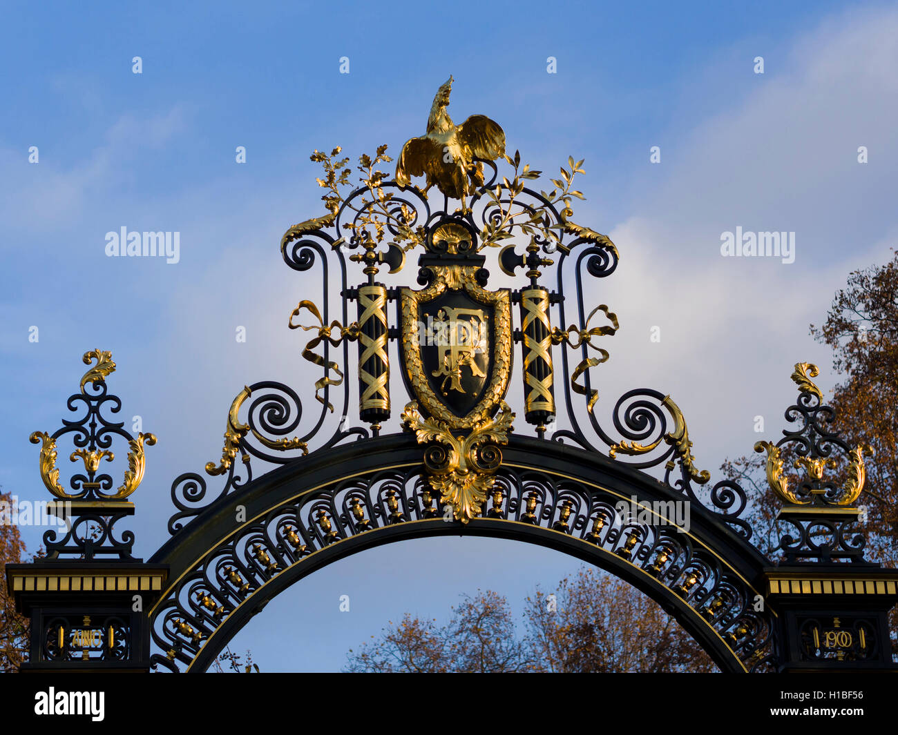 Nation emblem of the Republic of France on a decorated metal door at the Elysee Palace Stock Photo