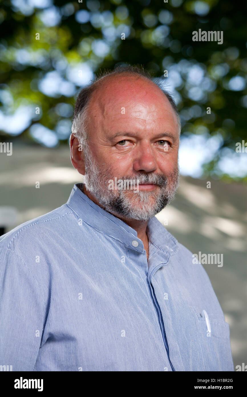 Andrey Yuryevich Kurkov, the Ukrainian novelist, at the Edinburgh International Book Festival. Edinburgh, Scotland. - Stock Image
