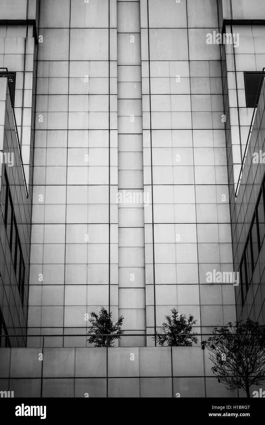 black and white photo of a minimalistic 60's style building Stock Photo