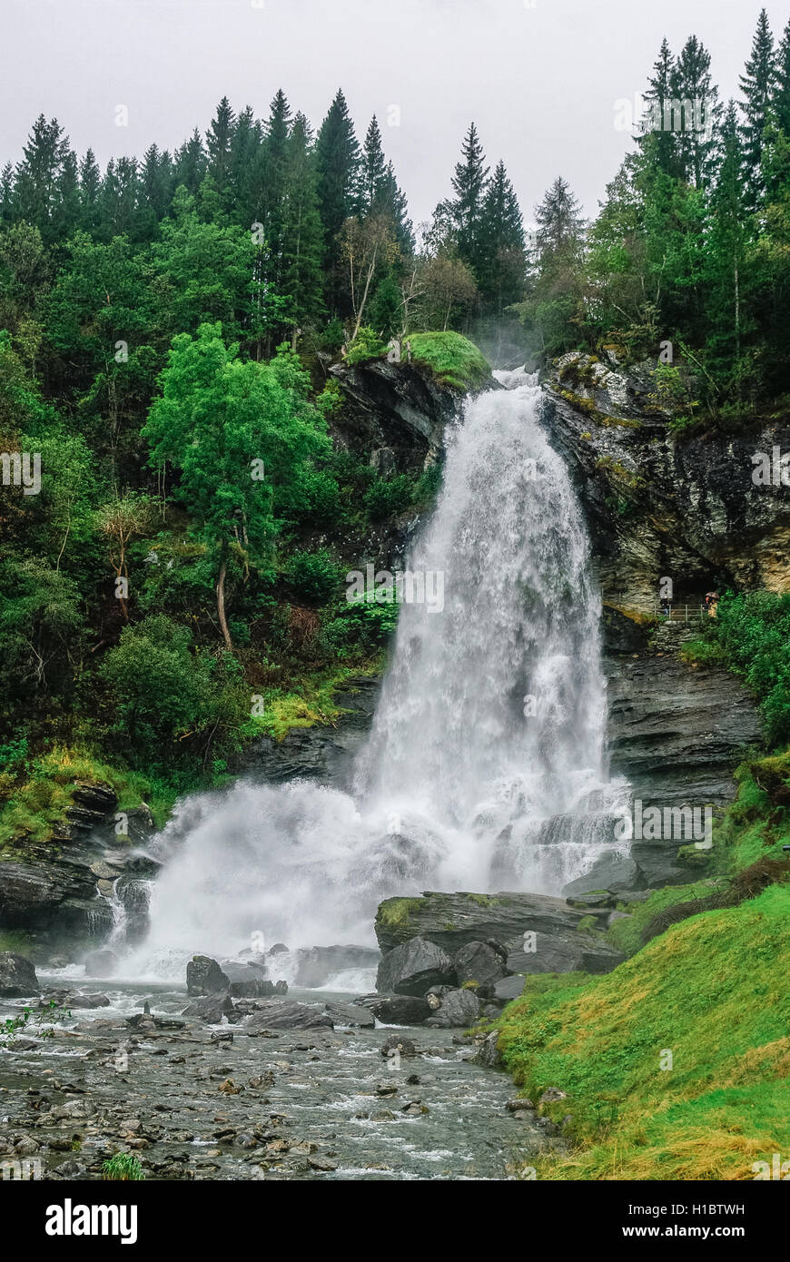 Norway, Hordaland county. Famous Steinsdalsfossen waterfall. Scandinavian nature. - Stock Image