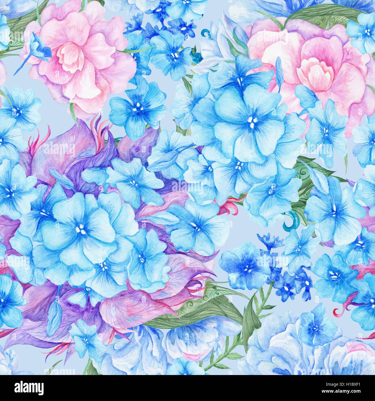 Seamless Watercolor Flower Texture For Wedding Wallpaper Textile Design With Blue And Pink Hydrangea Peony