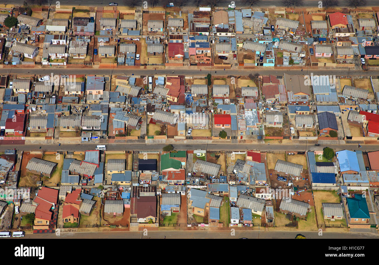 Aerial photograph of townhouses in diepkloof soweto johannesburg gauteng south africa