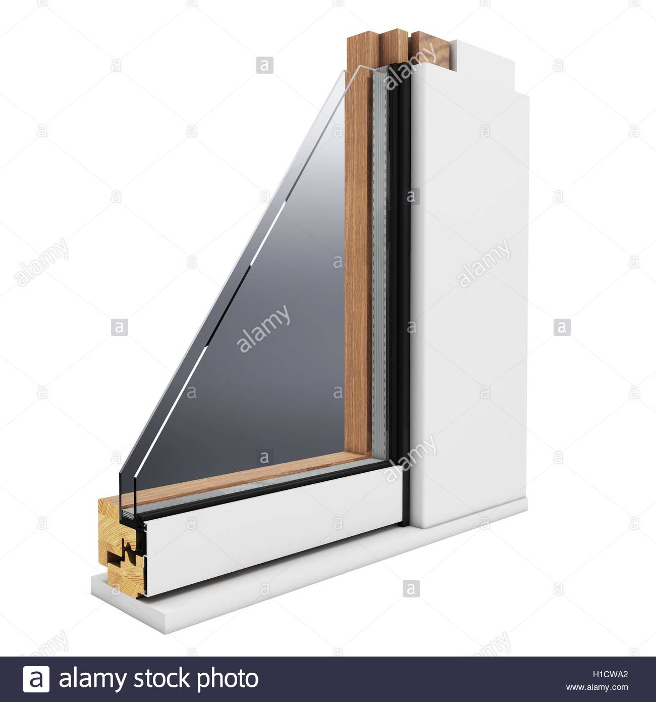3d detailed window profile on white background Stock Photo