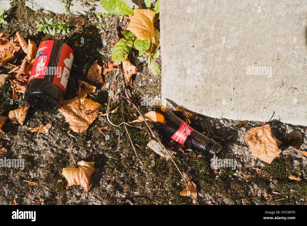 A broken Budweiser beer bottle - Stock Image