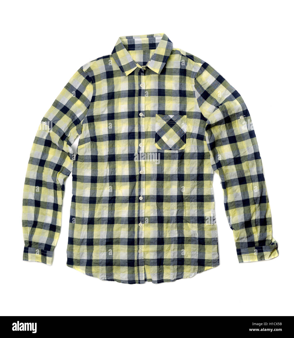 0d133075d05 Yellow checkered shirt. Isolate on white Stock Photo  121371191 - Alamy