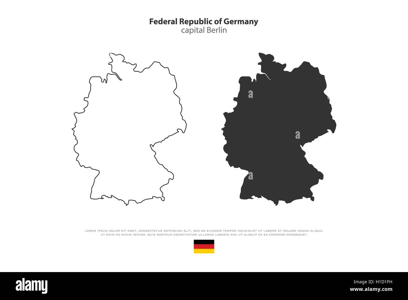 Map Of Germany Outline.Federal Republic Of Germany Map Outline And Official Flag Icon Stock