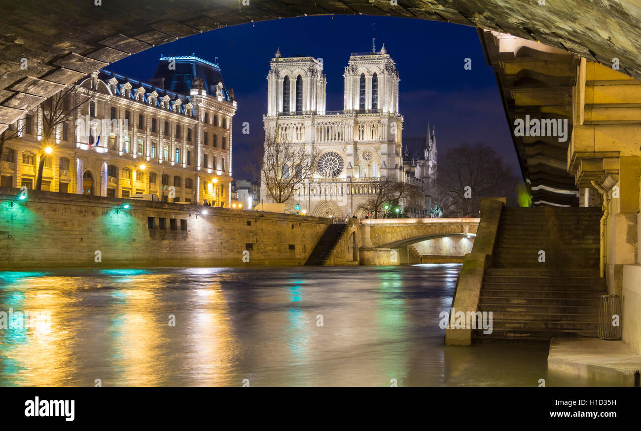 The historic Catholic cathedral Notre Dame is considered as one of the finest examples of French Gothic arcitecture. - Stock Image