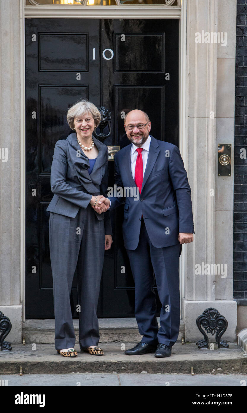 British Prime Minister Theresa May (L) shakes hands with President of the European Parliament,Martin Schulz (R) - Stock Image