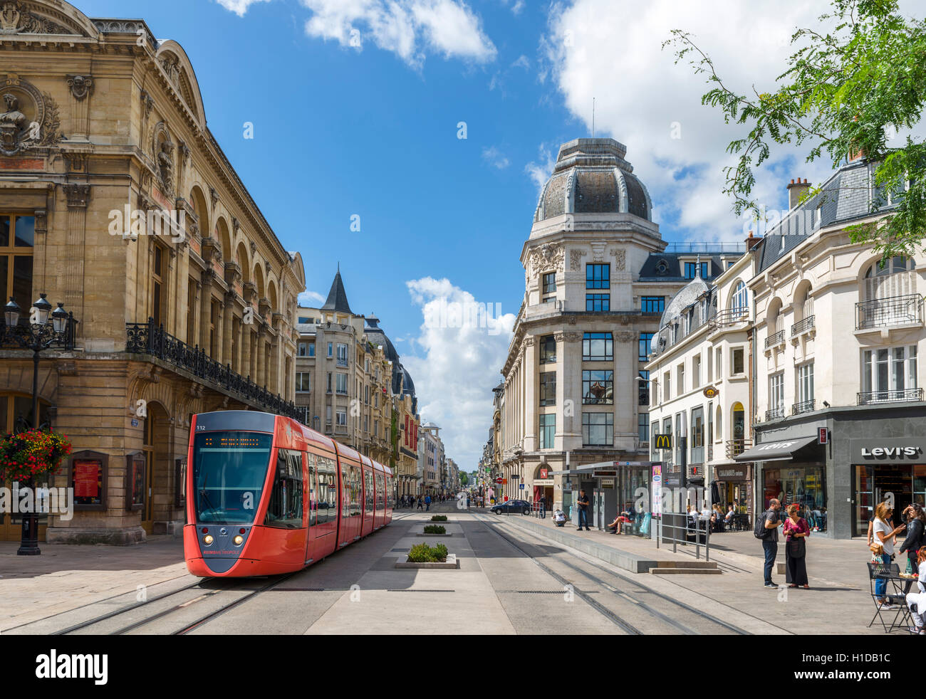 Tram and shops in the city centre, Place Myron Herrick, Reims, France - Stock Image