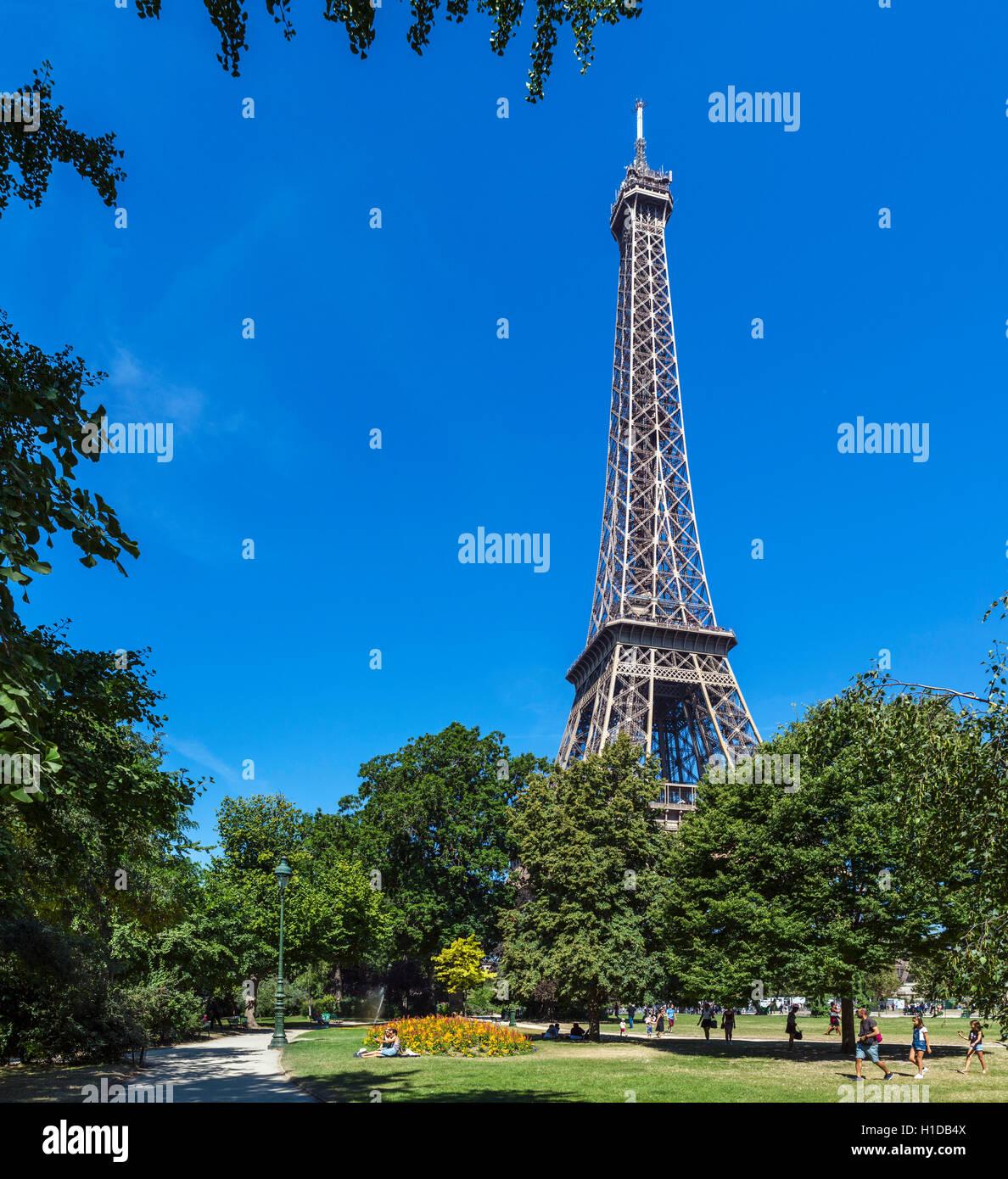 Eiffel Tower (Tour Eiffel) from the Champ de Mars, Paris, France - Stock Image