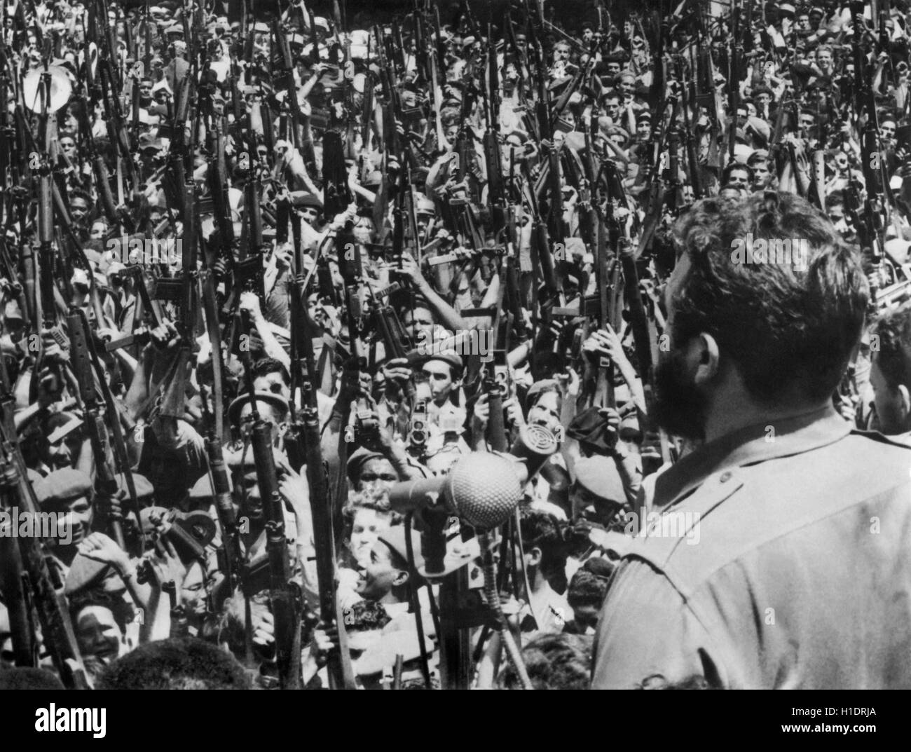 Cuban Revolution leader and Prime Minister Fidel Castro giving a speech in Central Havana on April 16, 1961 (the Stock Photo