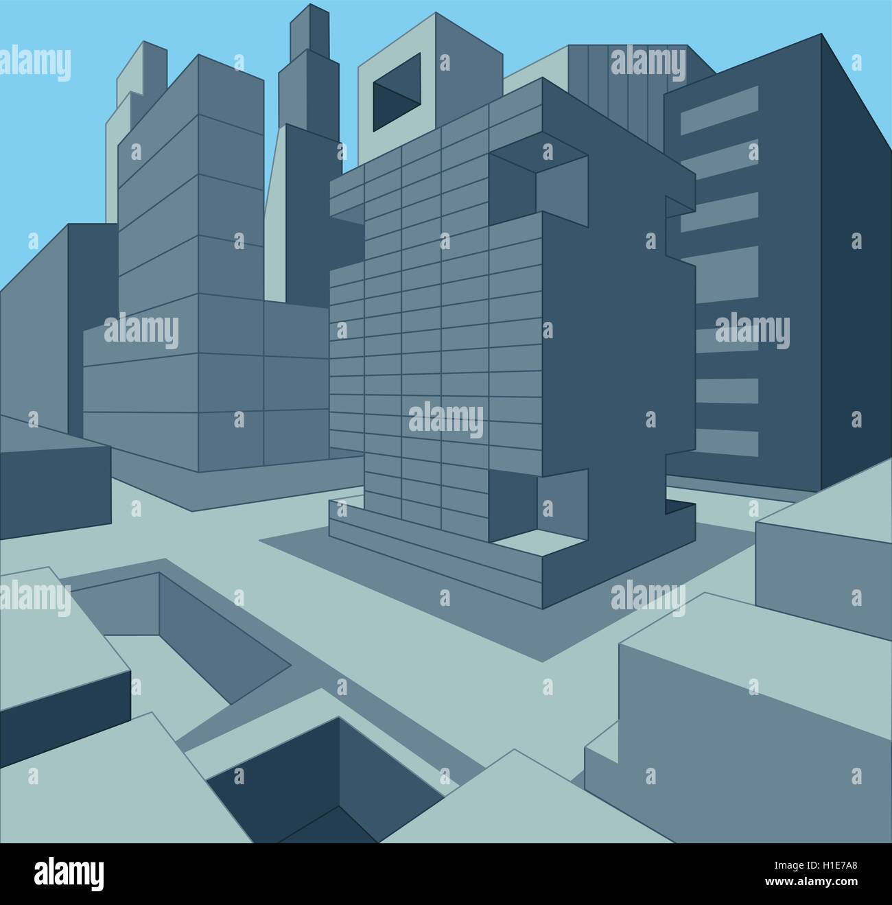 3 dimensional urban cityscape as vector illustration - Stock Image