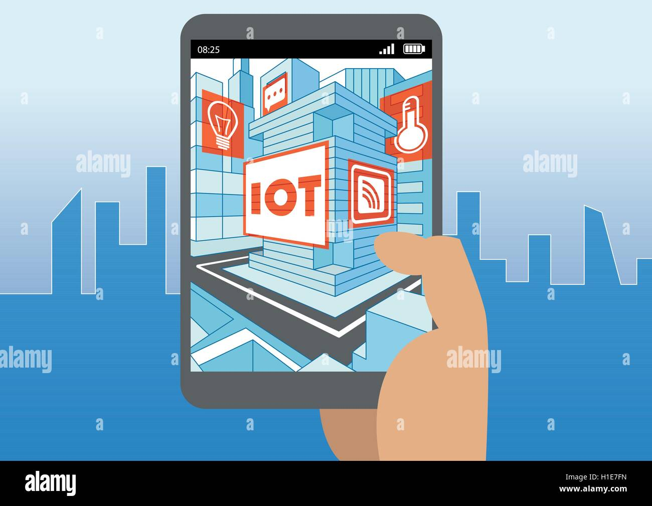 Internet of things (IOT) and mobility concept as vector illustration - Stock Image