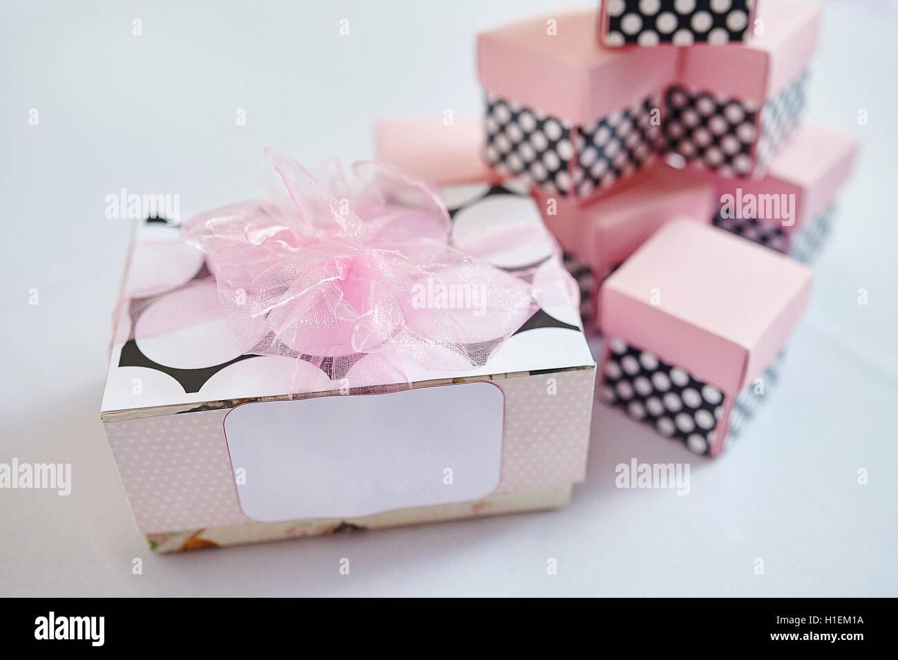 beautiful Wedding Gift Boxes on white background Stock Photo ...