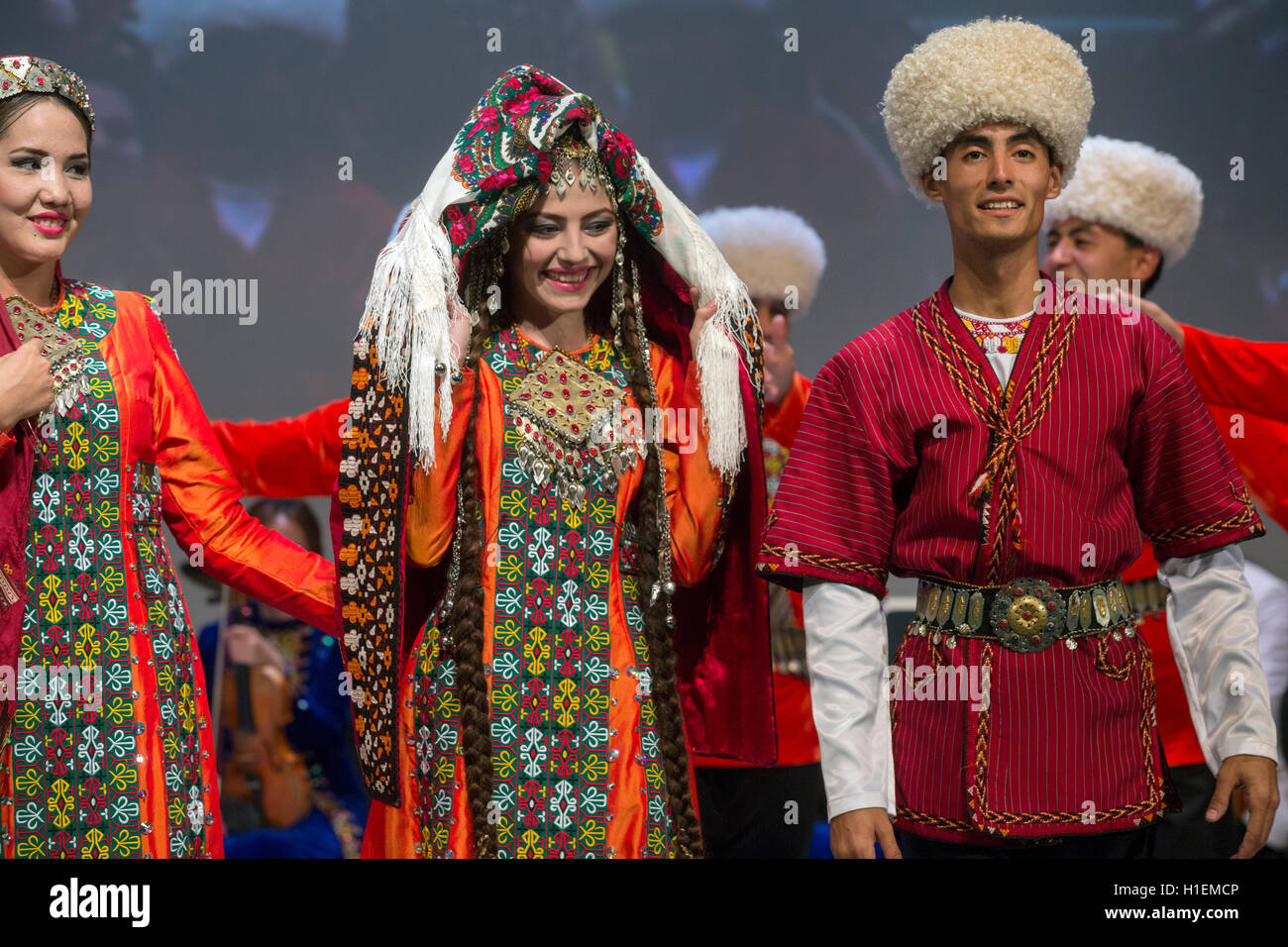 Dance group 'Lachin' shows the traditional wedding ceremony during the Days of Culture of Turkmenistan Republic - Stock Image