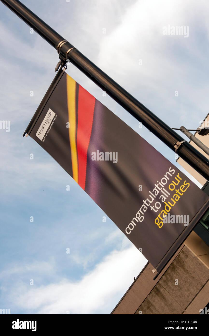 Manchester University Congratulations to Graduates Banner - Stock Image