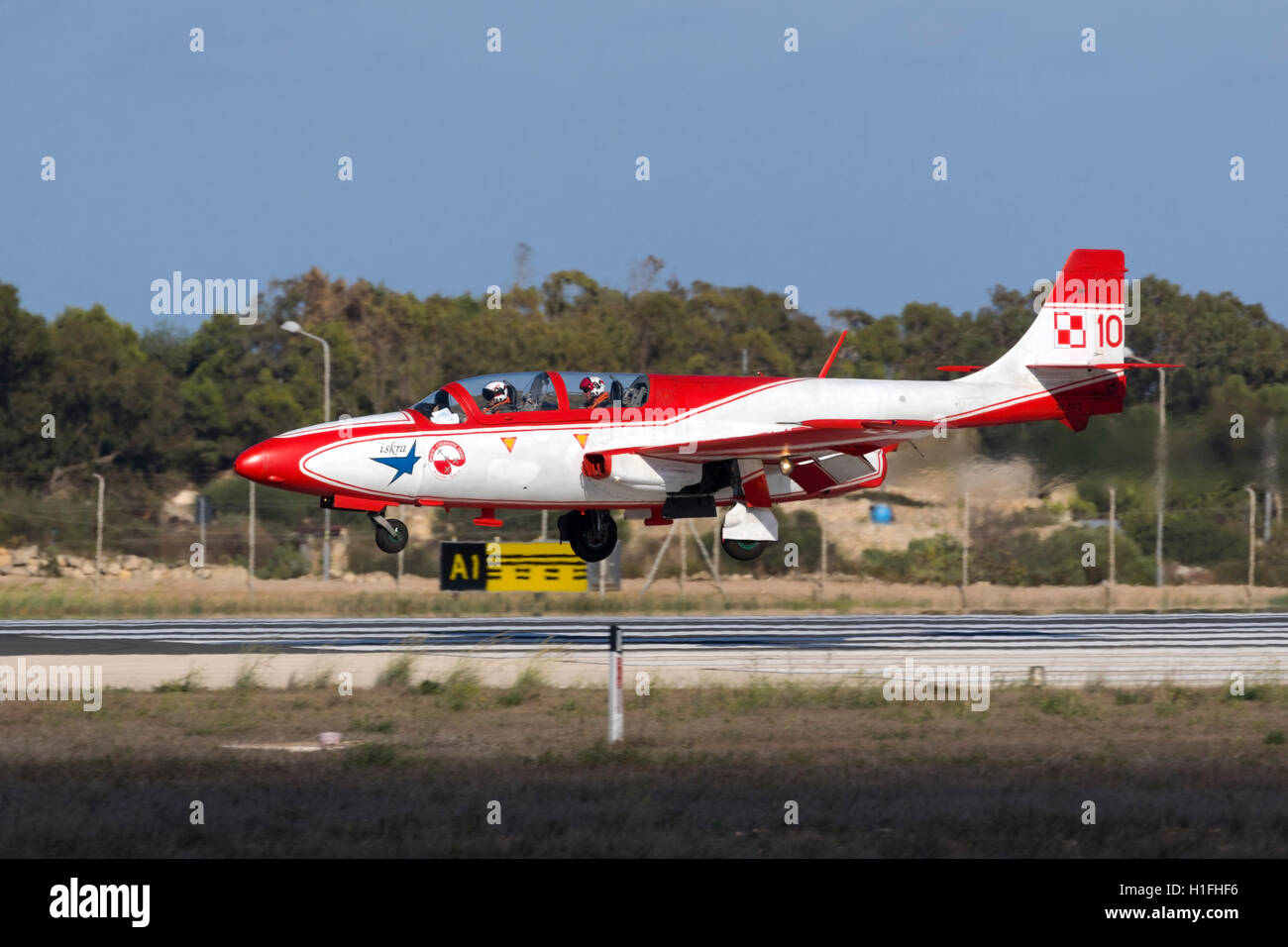 Polish Air Force PZL-Mielec TS-11 Iskra arriving for the airshow the coming weekend. - Stock Image