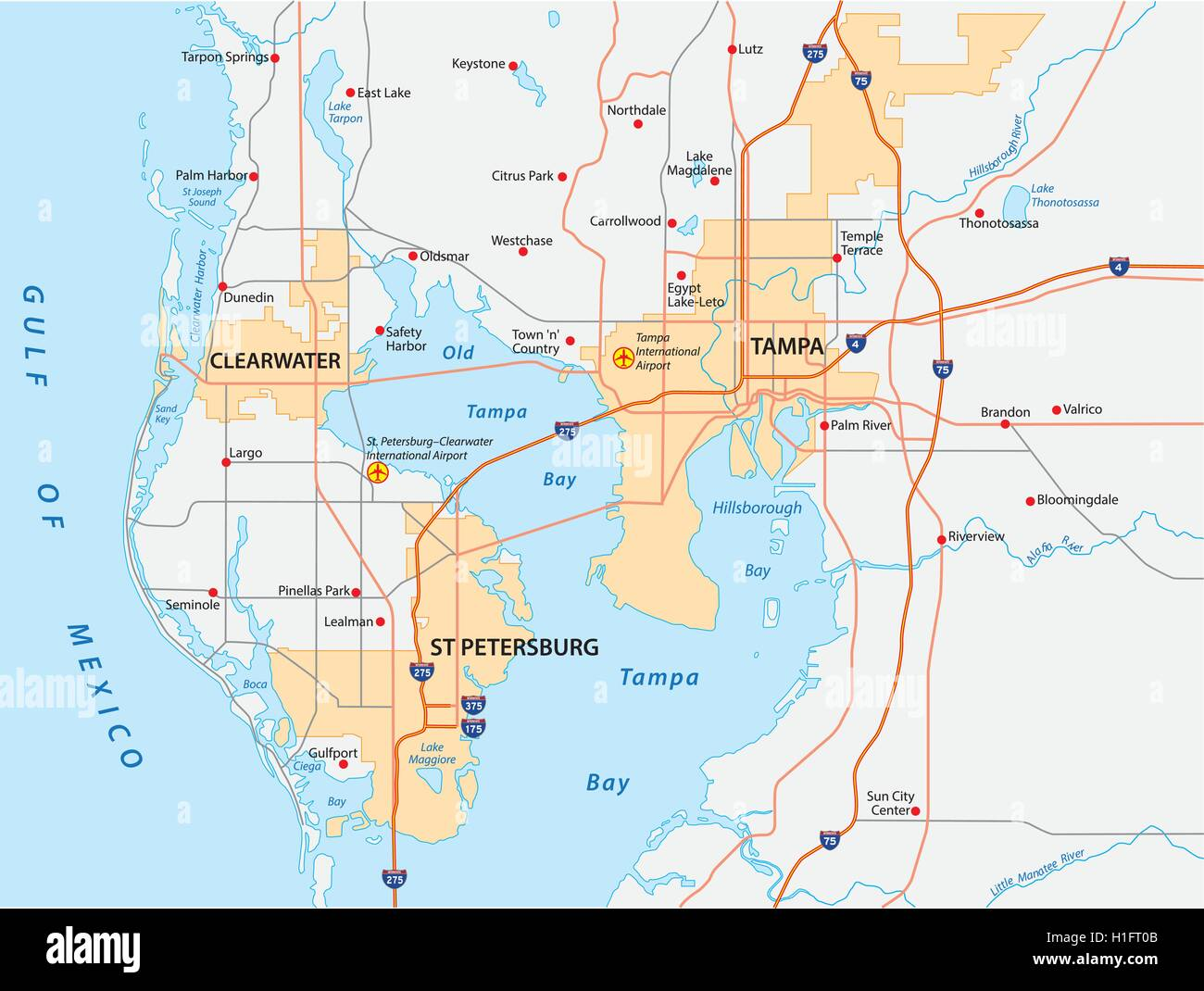 tampa bay area map Stock Vector Art Illustration Vector Image