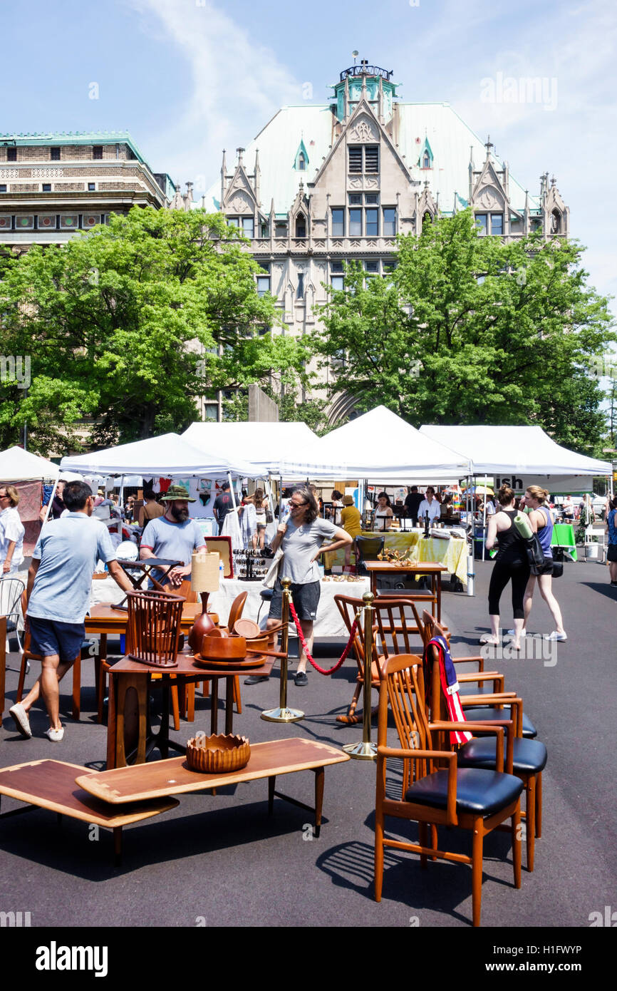 Brooklyn New York City NYC NY Fort Greene Flea Market Open Air Market  Shopping Vintage Clothes Crafts Furniture Vendors Booths Stalls Tent Chair  Man W