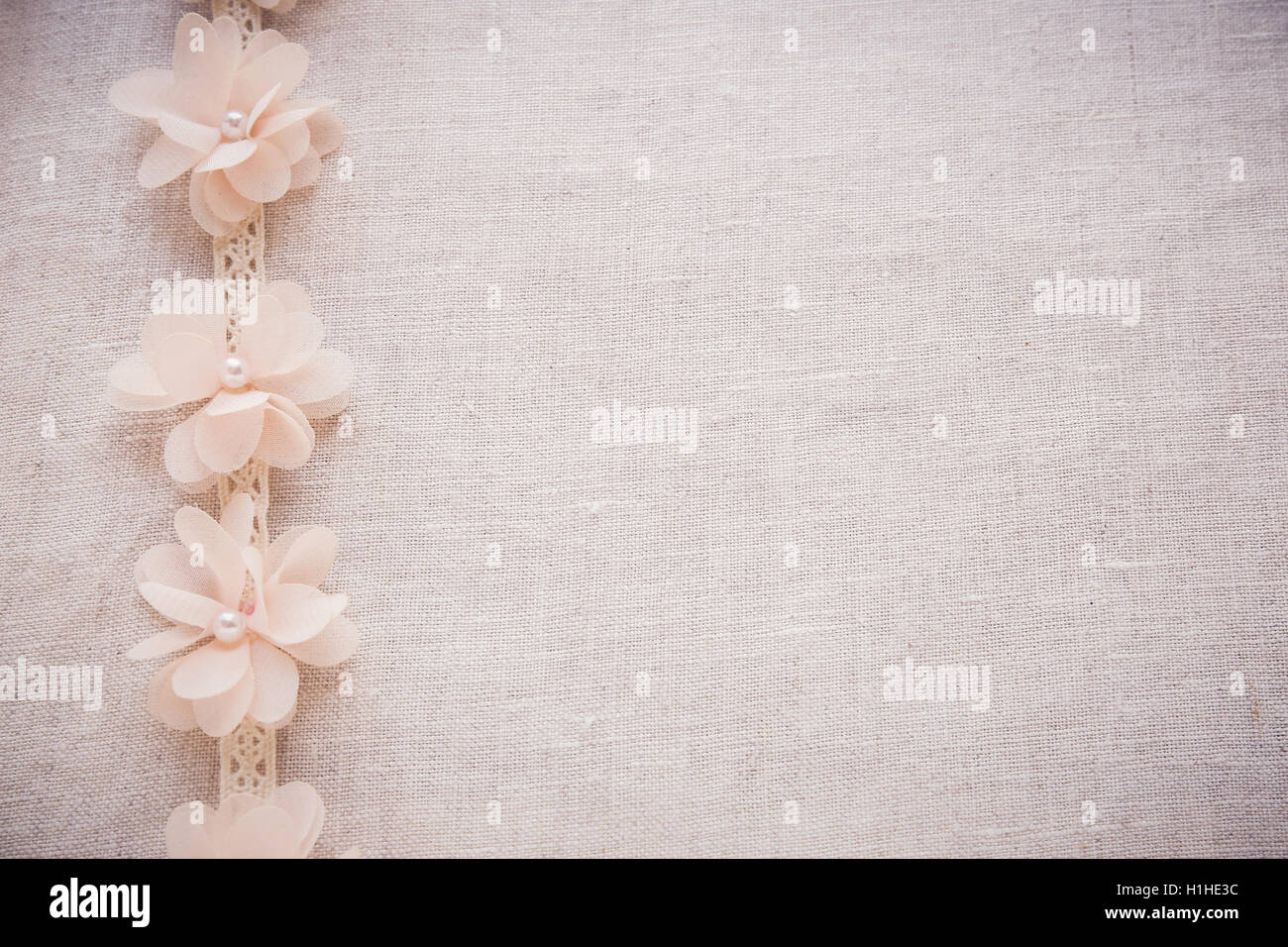 Flowers And Lace On Linen Copy Space Toning Vintage Wedding Background
