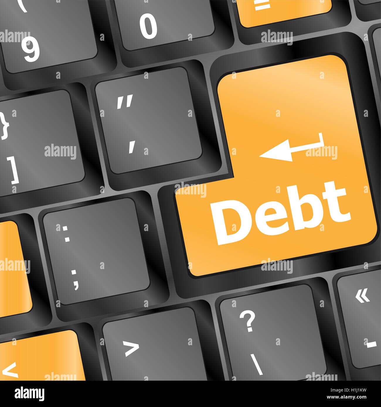 Debt on keyboard - Stock Image