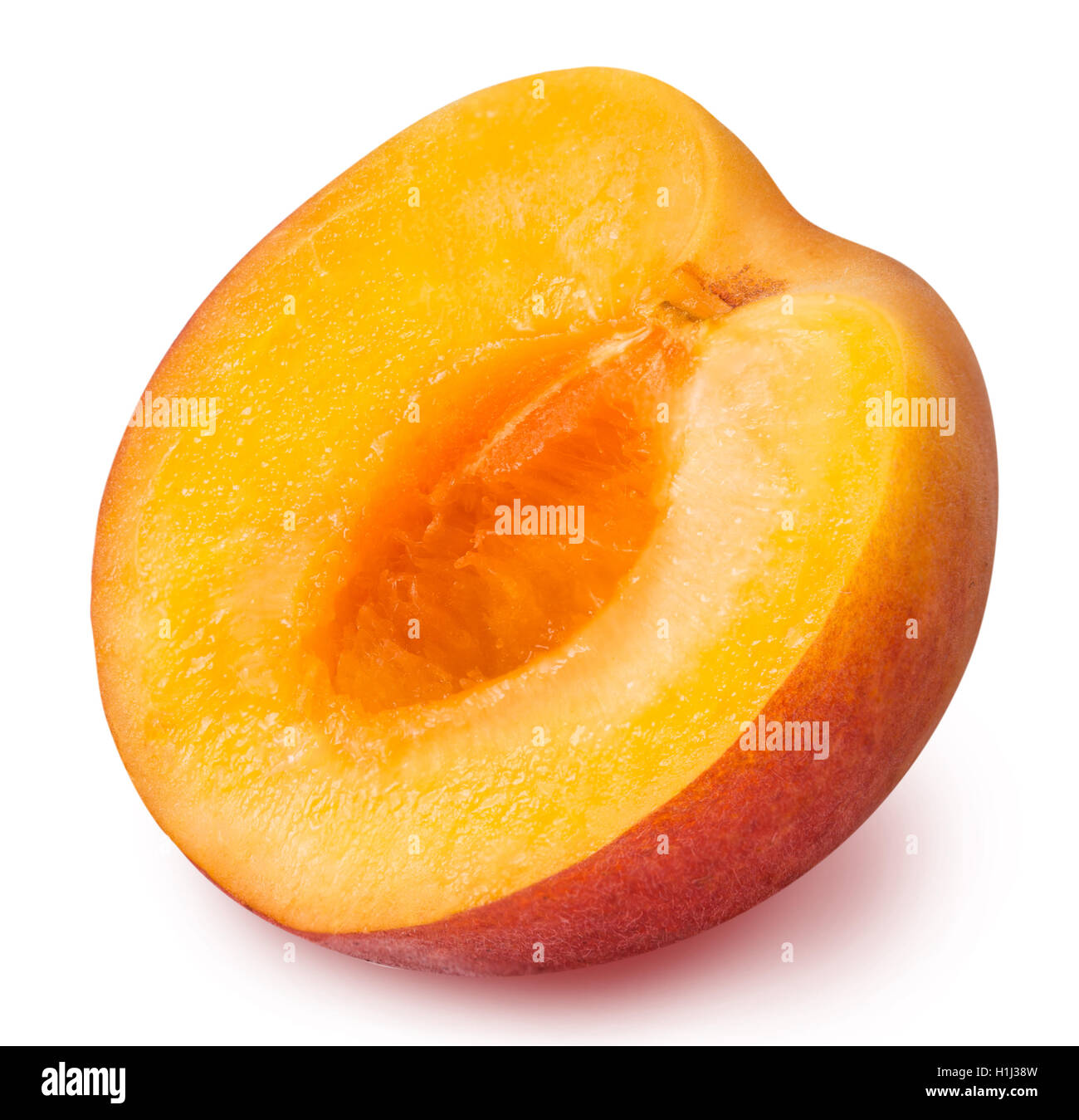 half ripe apricot isolated on a white background clipping path - Stock Image