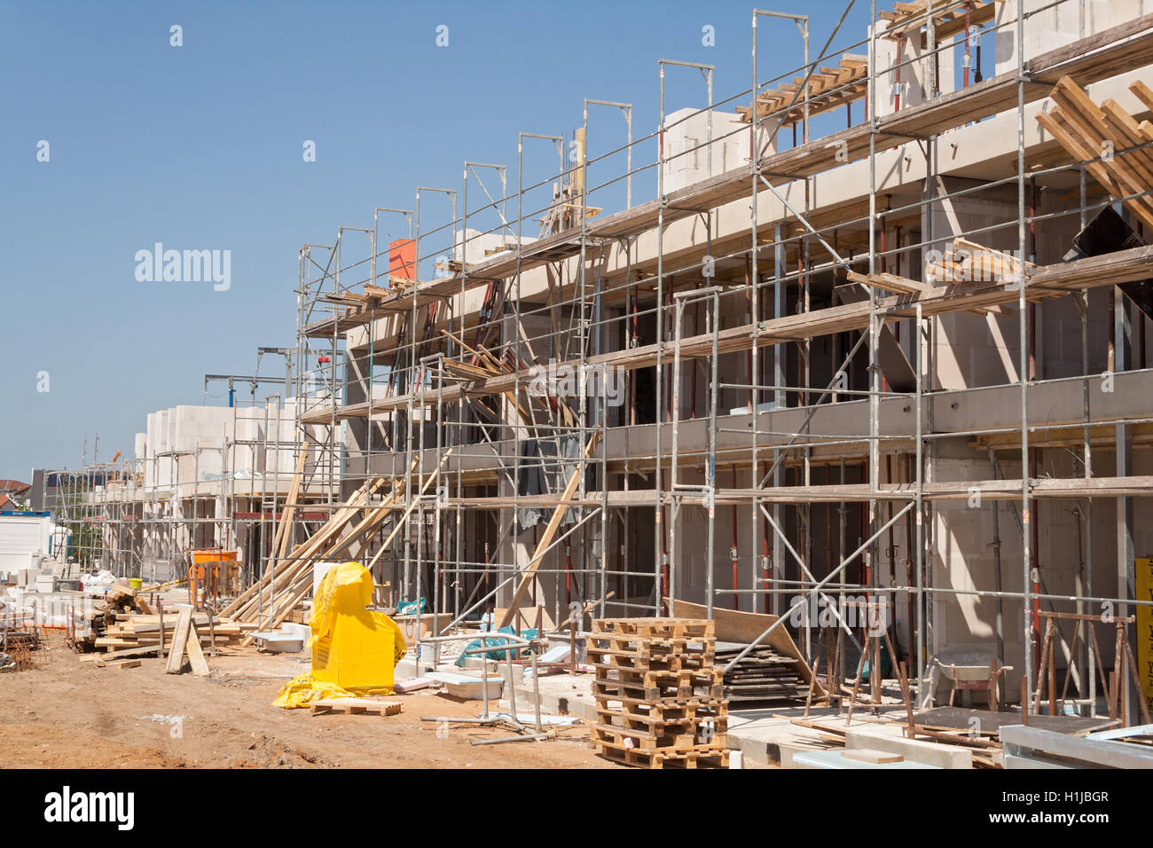 construction site of a new townhouse settlement - Stock Image