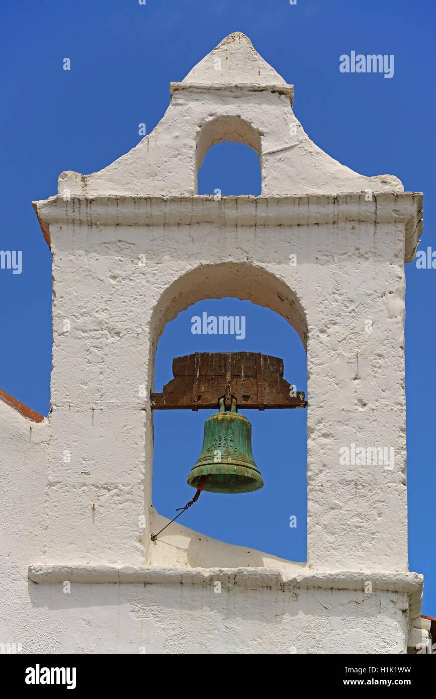 Giebel mit Glocke, Kirche Ermita San Telmo, Puerto de la Cruz, Teneriffa, Kanarische Inseln, Spanien - Stock Image