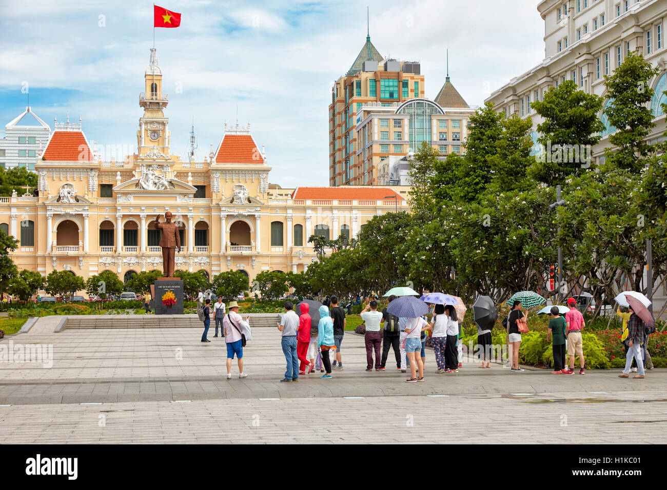 Ho Chi Minh Statue in front of People's Committee Building. Ho Chi Minh City, Vietnam. - Stock Image